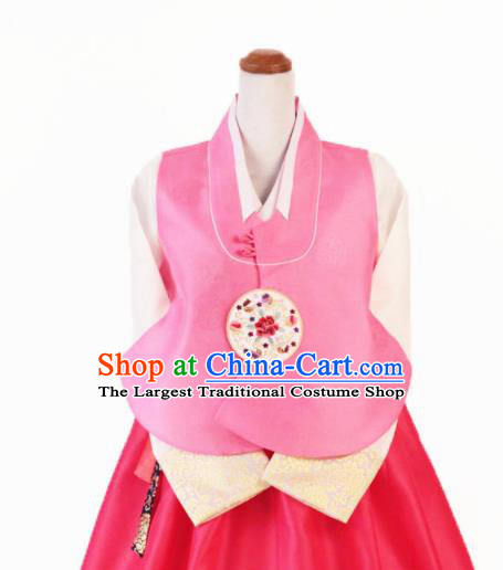 Korean Traditional Garment Bride Hanbok Embroidered Peony Pink Vest Asian Korea Fashion Costume for Women