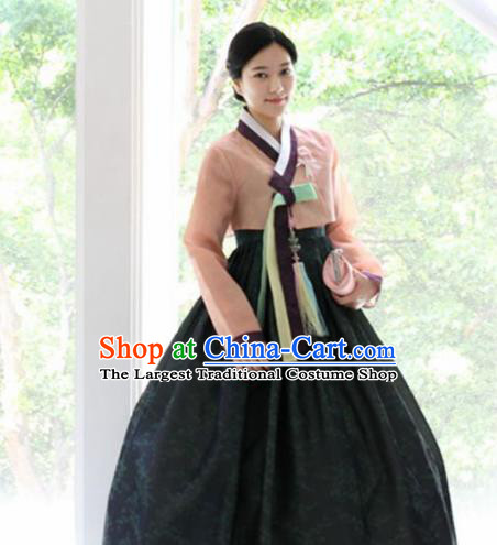 Korean Traditional Garment Pink Blouse and Black Dress Mother Hanbok Asian Korea Fashion Costume for Women