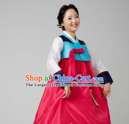 Korean Traditional Mother Hanbok Garment Blue Blouse and Rosy Dress Asian Korea Fashion Costume for Women