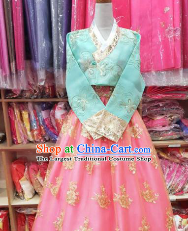 Korean Traditional Hanbok Garment Blue Blouse and Pink Dress Asian Korea Fashion Costume for Women