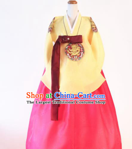 Korean Traditional Hanbok Garment Yellow Blouse and Rosy Dress Asian Korea Fashion Costume for Women