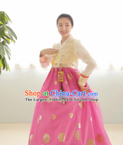 Korean Traditional Hanbok Garment Beige Blouse and Pink Dress Asian Korea Fashion Costume for Women