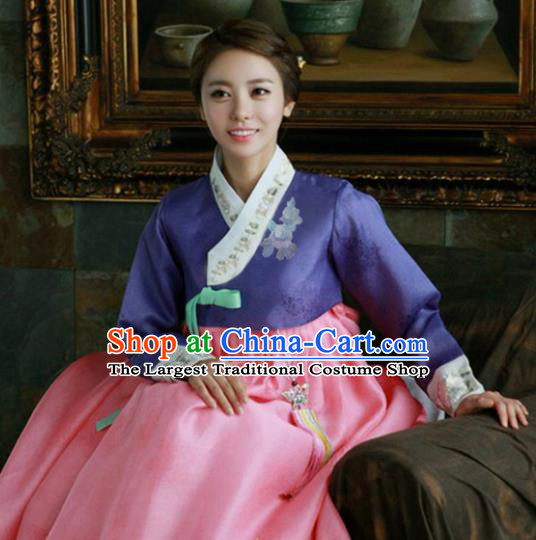 Korean Traditional Hanbok Garment Purple Blouse and Pink Dress Asian Korea Fashion Costume for Women