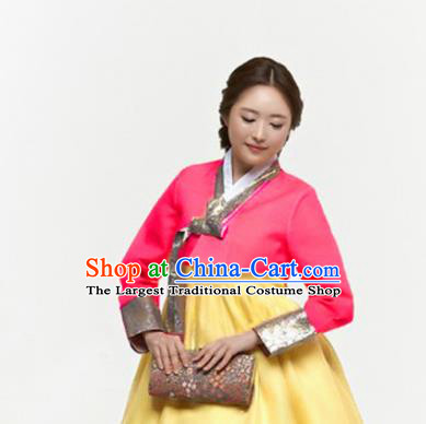 Korean Traditional Hanbok Garment Rosy Blouse and Yellow Dress Asian Korea Fashion Costume for Women