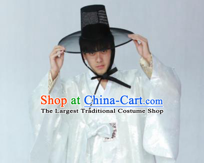 Korean Traditional White Silk Coat Hanbok Asian Korea Bridegroom Fashion Costume for Men