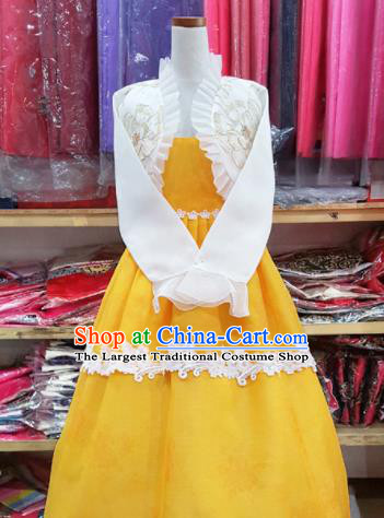 Korean Traditional Court Hanbok Garment White Blouse and Yellow Dress Asian Korea Fashion Costume for Women