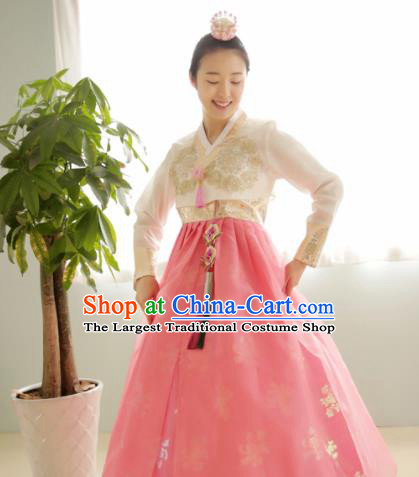 Korean Traditional Court Hanbok Garment Beige Blouse and Pink Dress Asian Korea Fashion Costume for Women