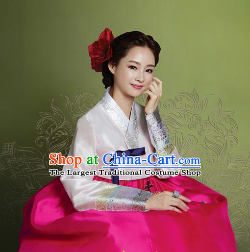 Korean Traditional Bride Mother Hanbok Garment White Satin Blouse and Rosy Dress Asian Korea Fashion Costume for Women
