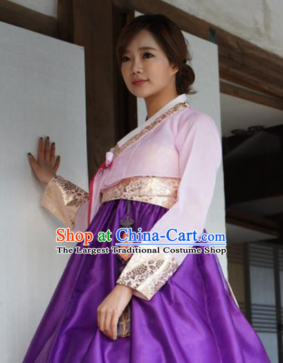 Korean Traditional Bride Mother Hanbok Pink Blouse and Purple Dress Garment Asian Korea Fashion Costume for Women