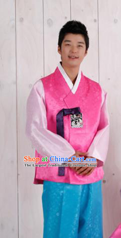 Korean Traditional Pink Vest and Blue Pants Hanbok Asian Korea Bridegroom Fashion Costume for Men