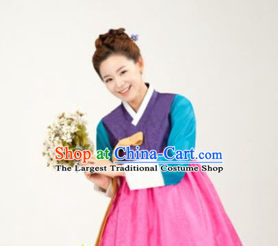 Korean Traditional Bride Mother Hanbok Purple Blouse and Pink Dress Garment Asian Korea Fashion Costume for Women