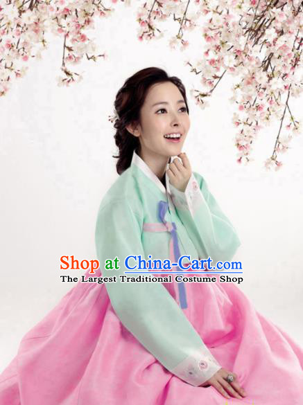 Korean Traditional Bride Hanbok Green Blouse and Pink Dress Garment Asian Korea Fashion Costume for Women