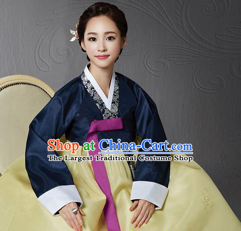 Korean Traditional Bride Hanbok Navy Blouse and Yellow Dress Garment Asian Korea Fashion Costume for Women