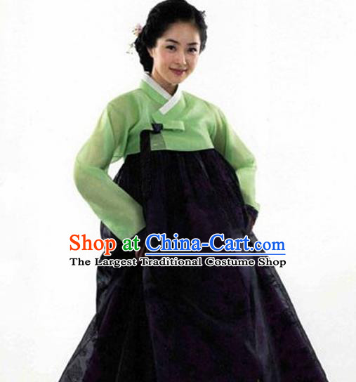 Korean Traditional Bride Hanbok Green Blouse and Black Dress Garment Asian Korea Fashion Costume for Women