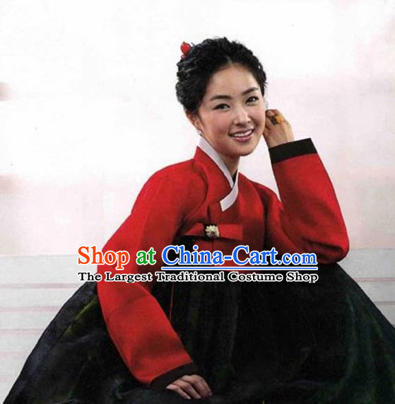 Korean Traditional Bride Hanbok Red Blouse and Black Dress Garment Asian Korea Fashion Costume for Women