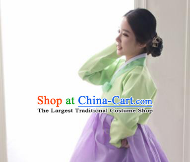 Korean Traditional Bride Hanbok Garment Green Blouse and Lilac Dress Asian Korea Fashion Costume for Women
