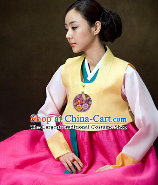 Korean Traditional Hanbok Garment Yellow Vest Blouse and Rosy Dress Asian Korea Fashion Costume for Women