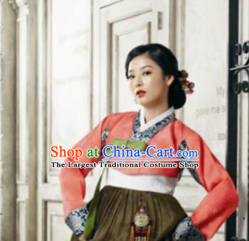 Korean Traditional Hanbok Garment Blouse and Olive Green Dress Asian Korea Fashion Costume for Women