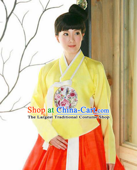 Korean Traditional Hanbok Garment Yellow Blouse and Red Dress Asian Korea Fashion Costume for Women