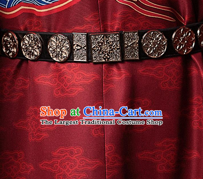 Chinese Traditional Ming Dynasty Swordsman Black Leather Belts Ancient Imperial Bodyguard Waistband for Men