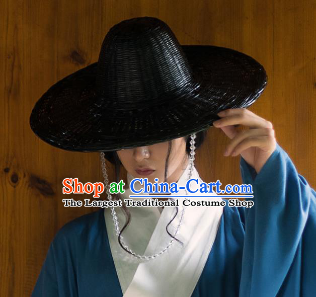 Chinese Traditional Ming Dynasty Swordsman Black Bamboo Hat Ancient Imperial Bodyguard Headdress for Men