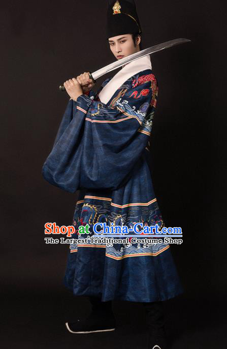 Chinese Traditional Ming Dynasty Swordsman Navy Embroidered Robe Ancient Imperial Bodyguard Costumes for Men
