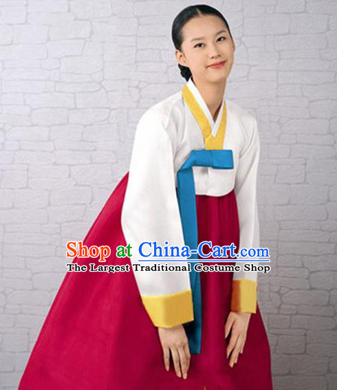 Korean Traditional Bride Court Hanbok White Satin Blouse and Wine Red Dress Garment Asian Korea Fashion Costume for Women