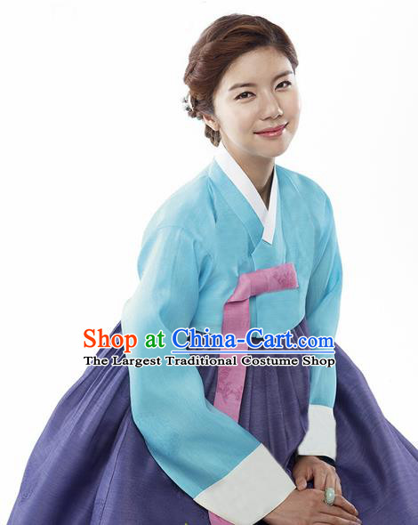Korean Traditional Bride Mother Hanbok Blue Satin Blouse and Navy Dress Garment Asian Korea Fashion Costume for Women