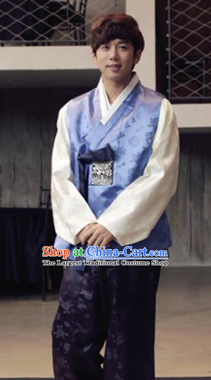 Korean Traditional Blue Vest and Purple Pants Hanbok Asian Korea Bridegroom Fashion Costume for Men