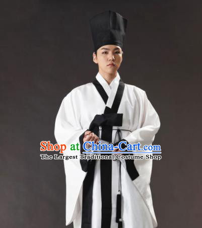 Korean Traditional Ancient Scholar White Robe and Pants Hanbok Asian Korea Bridegroom Fashion Costume for Men