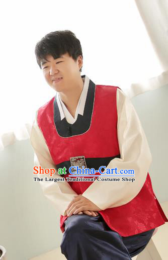 Korean Traditional Wedding Red Vest and Navy Pants Hanbok Asian Korea Bridegroom Fashion Costume for Men