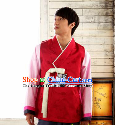 Korean Traditional Wedding Red Vest and Pants Hanbok Asian Korea Bridegroom Fashion Costume for Men