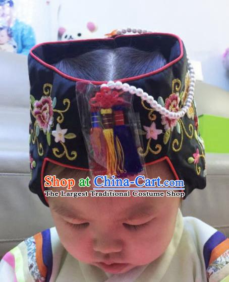 Korean Traditional Birthday Embroidered Hat Asian Korea Hanbok Hair Accessories for Kids