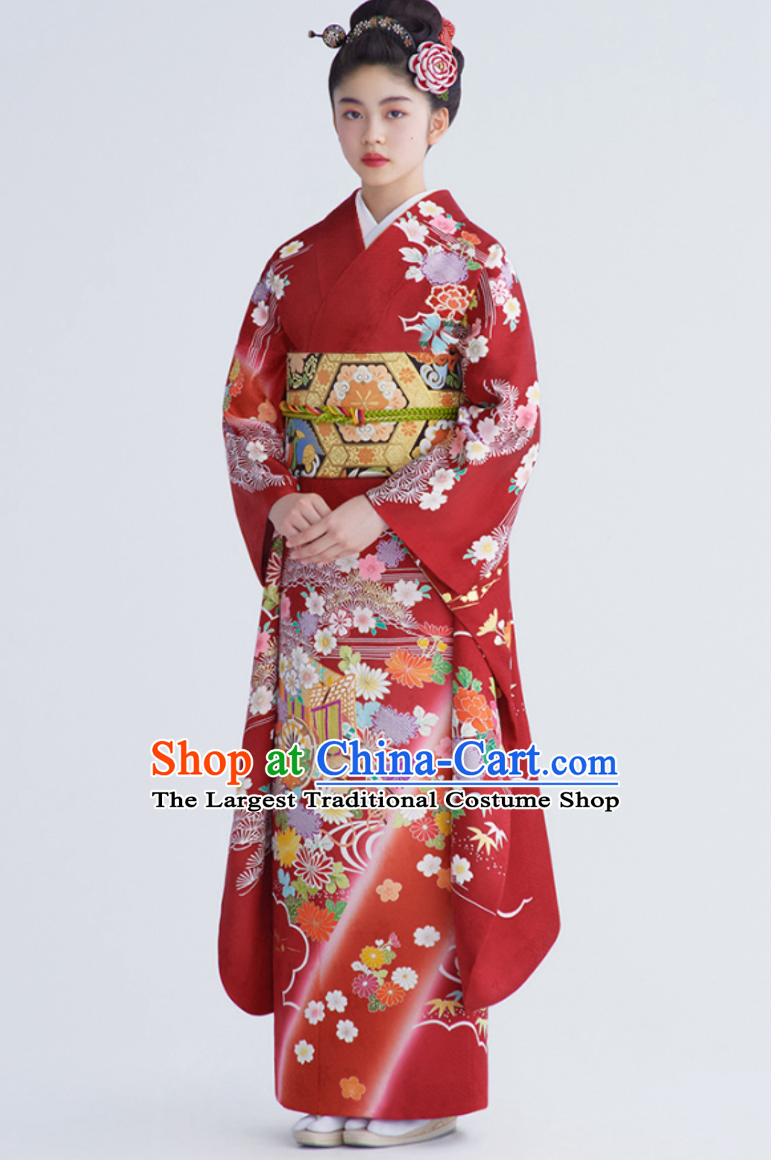 Traditional Asian Japan Clothing Japanese Fashion Apparel Printing Furisode Kimono Costume Complete Set for Women