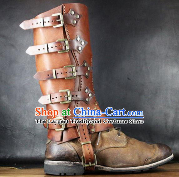 Western Middle Ages Leather Boots European Traditional Knight Shoes for Men