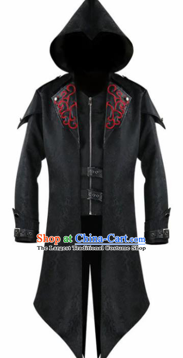 Western Middle Ages Drama Black Dust Coat European Traditional Knight Costume for Men