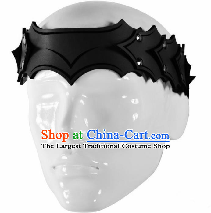 Western Middle Ages Hunter Black Leather Hair Clasp European Traditional Knight Headwear for Men