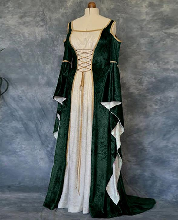 Western Halloween Cosplay Queen Green Dress European Traditional Middle Ages Court Costume for Women
