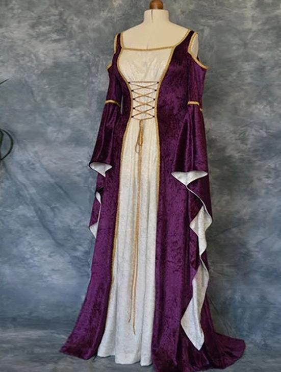 Western Halloween Cosplay Queen Purple Dress European Traditional Middle Ages Court Costume for Women
