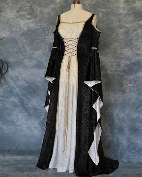 Western Halloween Cosplay Queen Black Dress European Traditional Middle Ages Court Costume for Women