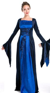 Western Halloween Cosplay Queen Blue Dress European Traditional Middle Ages Court Costume for Women