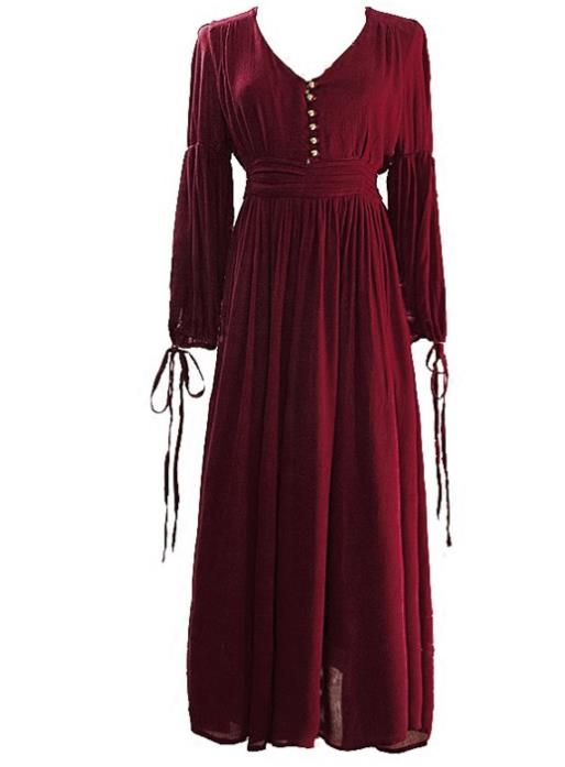 Western Halloween Cosplay Queen Wine Red Dress European Traditional Middle Ages Court Costume for Women