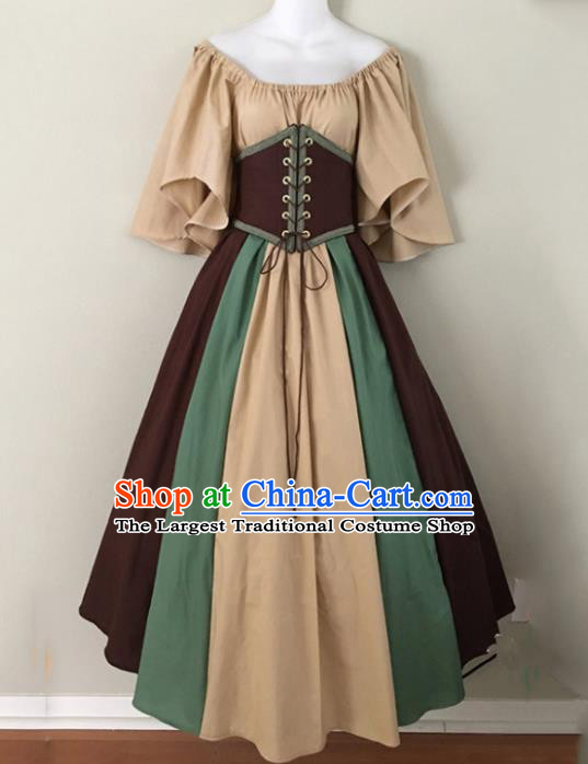 Western Halloween Cosplay Khaki Dress European Traditional Middle Ages Court Costume for Women
