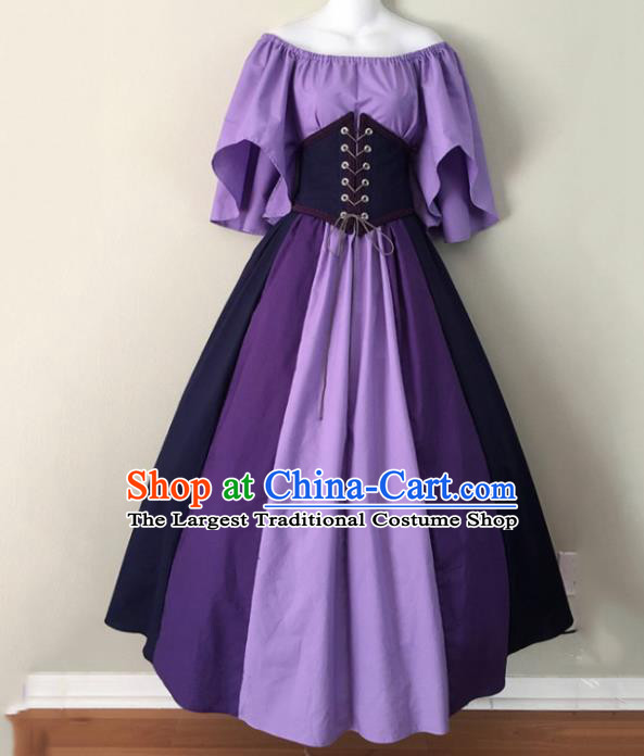 Western Halloween Cosplay Purple Dress European Traditional Middle Ages Court Costume for Women