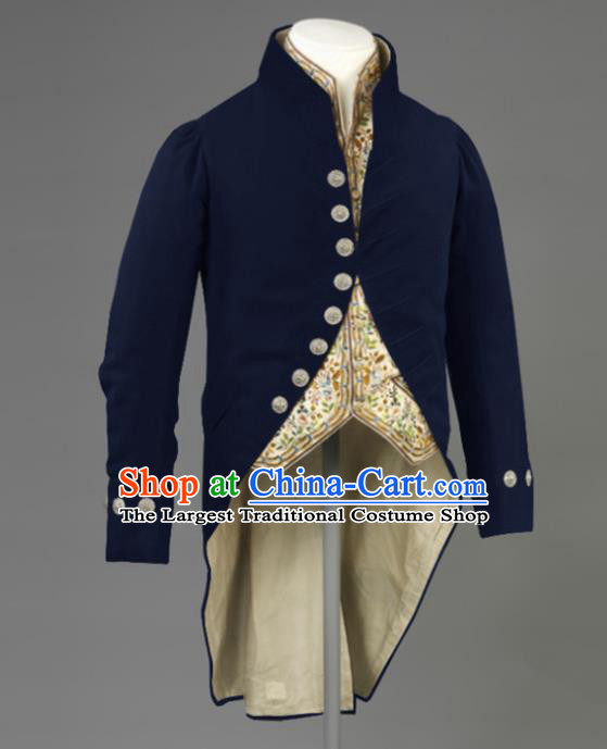 Western Middle Ages Drama Deep Blue Coat European Traditional Knight Costume for Men