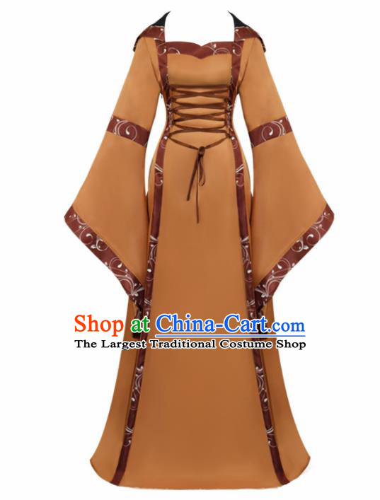 Western Halloween Cosplay Princess Khaki Dress European Traditional Middle Ages Court Costume for Women