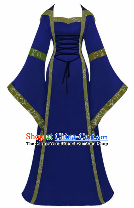 Western Halloween Cosplay Princess Royalblue Dress European Traditional Middle Ages Court Costume for Women