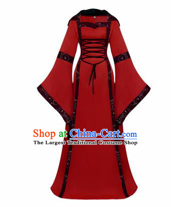 Western Halloween Cosplay Princess Red Dress European Traditional Middle Ages Court Costume for Women