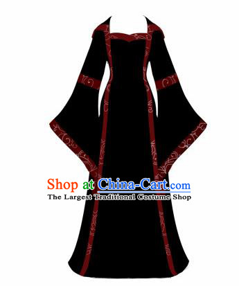 Western Halloween Cosplay Princess Black Dress European Traditional Middle Ages Court Costume for Women