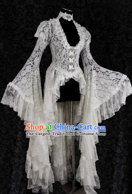 Western Halloween Cosplay Princess White Lace Dress European Traditional Middle Ages Court Costume for Women